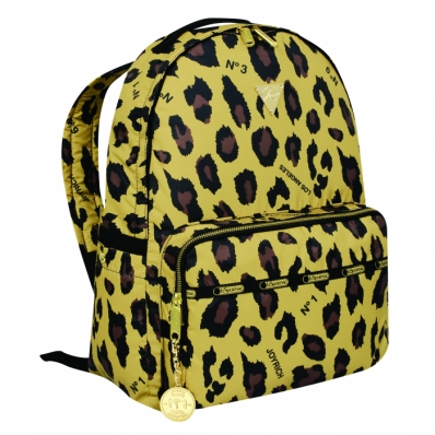 Double Zip Backpack Gold Leopard