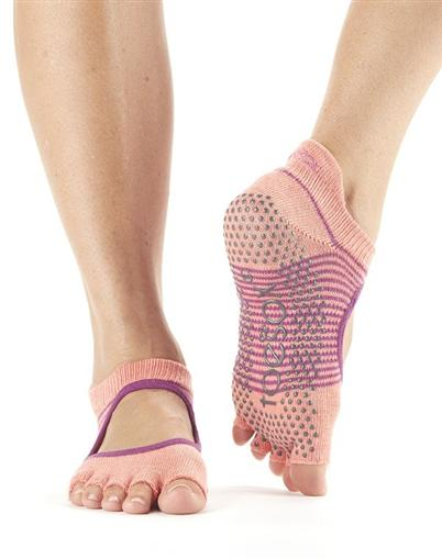 Half Toe Bellarina Grip - persimon stripe